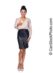 Business woman giving a greeting - Full length of smiling...