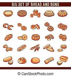 pain, et, chignons, collection,