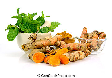 Kitchen Mint and Turmeric Root. - Kitchen Mint ( Mental...