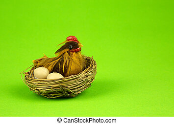 Easter decoration on green background