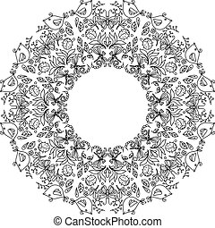 Page of coloring book with round wreath