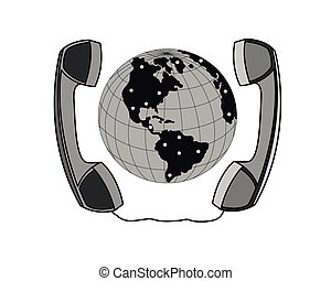 Global communication - Handset around the globe isolated on...