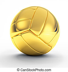 golden volley ball - 3d image of classic golden volley ball...