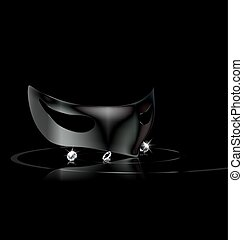 dark mask and crystals - dark background and carnival black...
