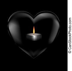 black heart and burning candle