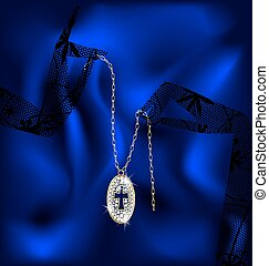 lace and pendant cross - lace gloves and a jewelry chain...