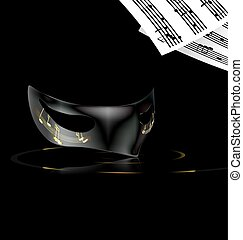 note and mask - dark background and carnival black half mask...