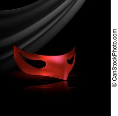 red half mask - dark background and carnival red half mask