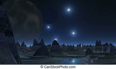 City of aliens, two moons and UFOs - At night the starry sky...