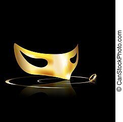 yellow half mask - dark background and carnival golden half...