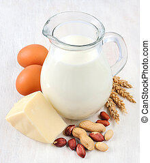Protein food. Fresh milk, peanuts,cheese and eggs.