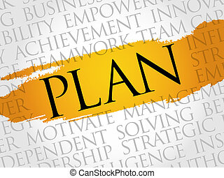 Plan word cloud, business concept