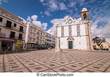 View of the main church of the city of Olhao, Portugal