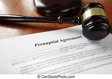 Prenuptial marriage agreement with legal gavel...