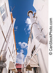 Outdoor view of the typical architecture of the cubist city...