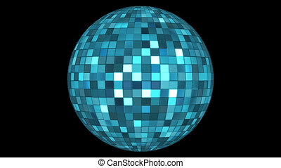 Twinkling Hi-Tech Squares Spinning Globe, Blue, Alpha Channel, Loop, HD