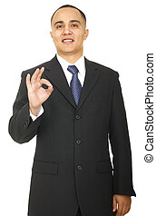 Business Man Showing Ok Sign 2 - isolated man with smiling...