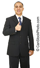 Business Man Showing Ok Sign - a man giving a thumb up and...