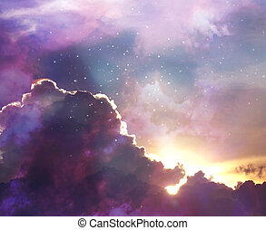 evening colorful sky with shining stars