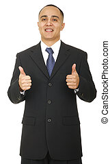 Business Man Showing Two Thumbs - a business man in business...