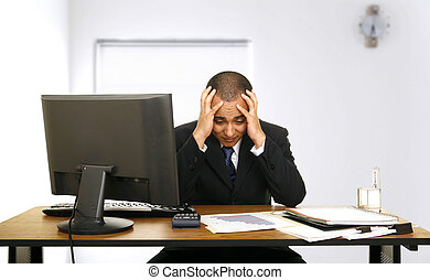 Employee Stress In His Office - an employee stressed out...
