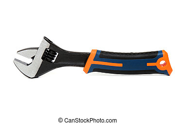 Close up view of an adjustable wrench isolated on a white background.