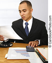 Financial Time - a business man calculating his or company...
