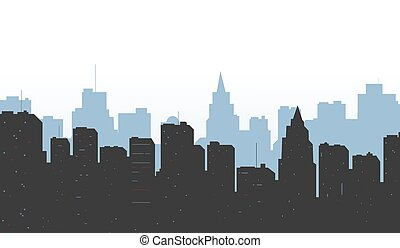 Contour of city on a blue backgroun