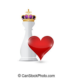 Chess king piece and love heart over a white background