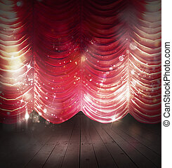 Red curtains theater - Background theater with red and...