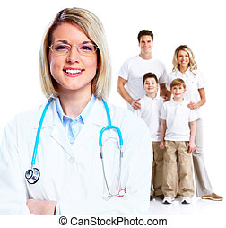 Family doctor woman. - Family doctor woman and patients...