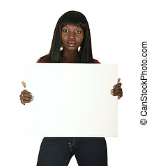 African American Girl Holding White Board - african american...