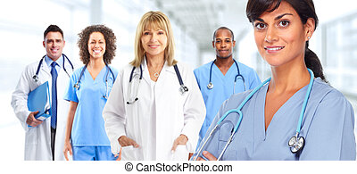 Group of hospital doctors. Health care medical background.