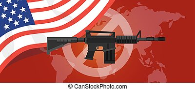 gun control m16 riffle anti war america USA flag vector...