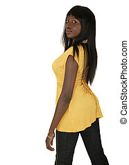 Fashion Girl Looking From Side - side pose of african...