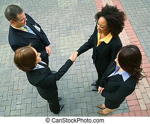 empresa / negocio, trato, con, diversidad, grupo