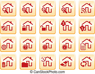 Computer icons - red computer icons on yellow background,...
