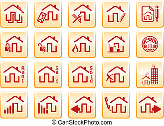 Computer icons - red computer icons on yellow background