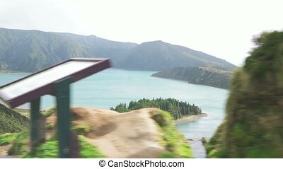 Volcanic Lake of Azores Island - A side view of volcanic...
