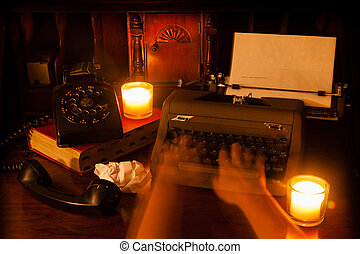 Ghost Hands at Typewriter - Ghost hands type at an old...