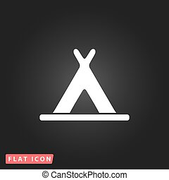 wigwam flat icon - Wigwam White flat simple vector icon on...