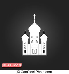 Vector church icon - Church White flat simple vector icon on...