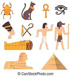 Egypt travel vector icons symbols - Egypt travel vector...