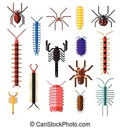 ragni, e, scorpioni, pericoloso, Insetti, Animali, vettore,...