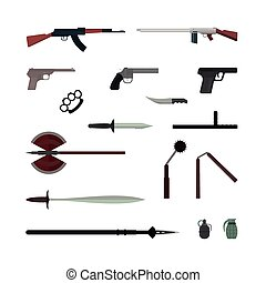 Weapons flat vector collection isolated on white background...