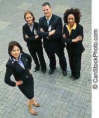 exitoso, grupo, de, diversidad, empresa / negocio, gente
