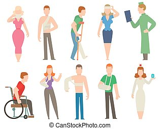 Print - Trauma accident and human body safety vector people...
