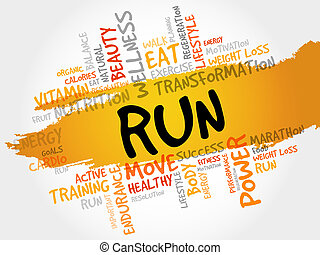 RUN word cloud, fitness, sport, health concept