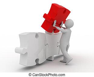 3d man assembling puzzle