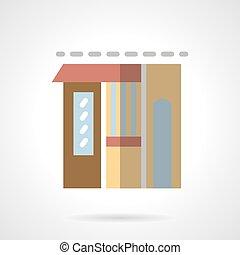 Flower shop facade flat color vector icon